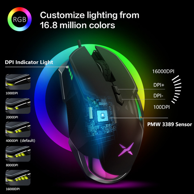 Delux M628 Computer Gaming Mouse Optical Ergonomic RGB Backlit Wired Computer Mause 16000 DPI 9 Buttons PC Mac Gamer Office Mice 2