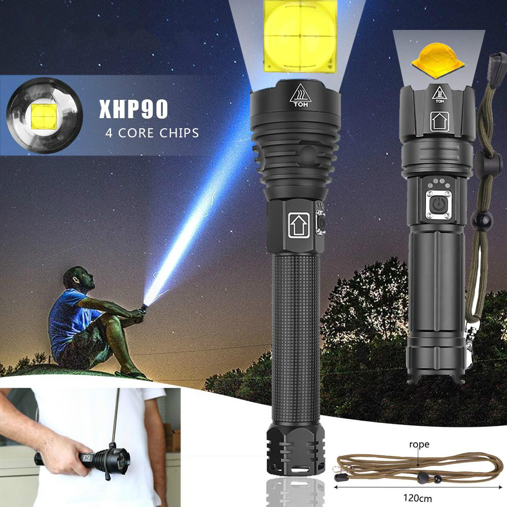 Highest Lumen Most Powerful XHP90 Long-range Flashlight LED Tactical Zoom XHP70.2 LED Torch Light Use 26650 Large  Battery