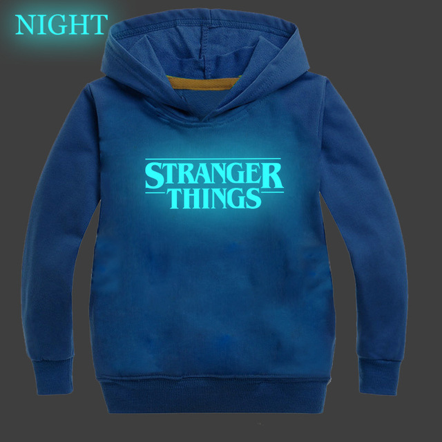 Fashion Kids Boys Girls Stranger Things Sweatshirt Pullovers Luminous Hoodies Hooded Sportswear Surprise Gift