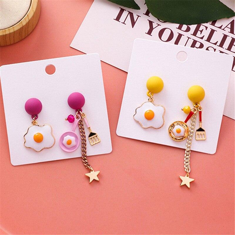 Fashion Poached Egg Earrings Cute Romantic Stars Tassel Earrings Asymmetric Cartoon Stud Earrings For Women Nightclub Jewelry