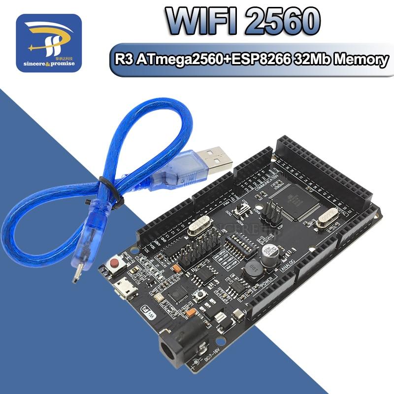 Mega2560 + Wi-Fi R3 ATmega2560 + ESP8266, 32 Мб памяти Φ CH340G. Совместимость с Arduino Mega NodeMCU для WeMos ESP8266