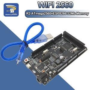 Image 1 - Mega2560 + Wifi R3 ATmega2560 + ESP8266 32Mb Geheugen USB TTL CH340G. Compatibel Voor Arduino Mega Nodemcu Voor Wemos ESP8266