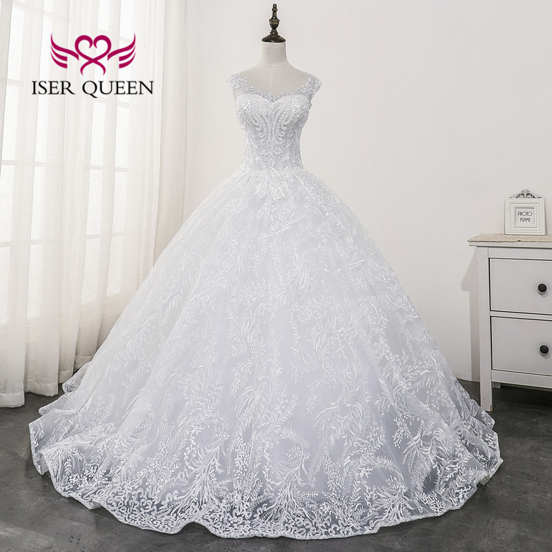 Sheer Neck Backless Elegant Lace Wedding Dress Ball Gown 2020 New Arrival Beading Marriage Bride Dress  White Color WX0170