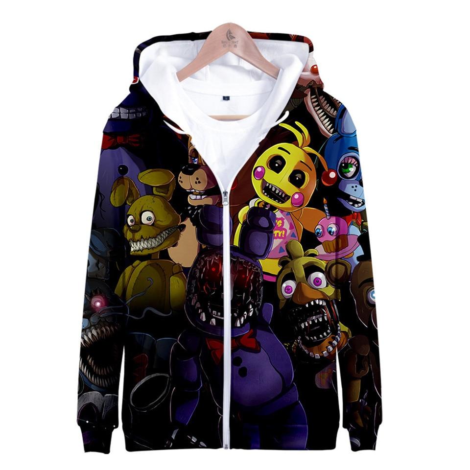 Five Nights At Freddys 3D Hoodies FNAF Children Zipper Hoodie Sweatshirt For Kids Boys Winter Autumn Jacket Coat Clothes