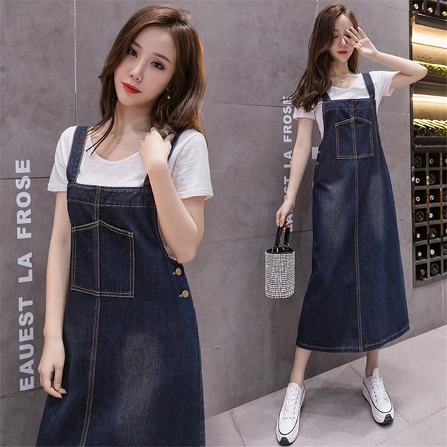 2021 New Korean Fashion Long Denim Sundress Vintage Jeans Dress Women Suspenders Dresses Female Overalls Robe Femme 4