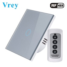 Vrey EU Standard Touch Switch,1Gang 1 Way,Wall Light Remote control switch,Luxury Tempered Glass Crystal Panel
