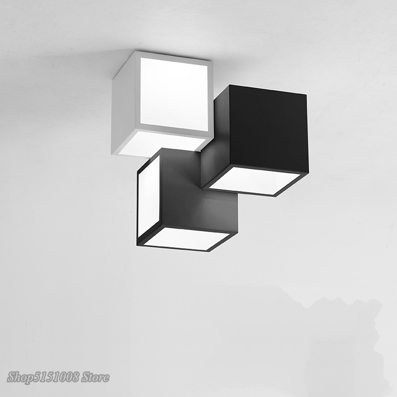 Creative Combination Black Ceiling Lights Modern Acrylic Led Square Ceiling Lamp with Remote Control Home Deco Light Fixtures