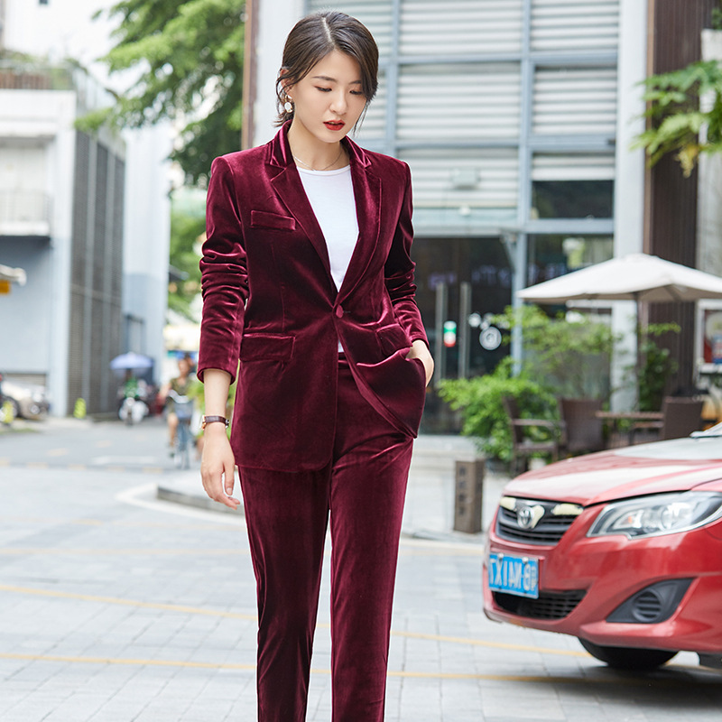 Women's Suit Women's Gold Velvet Single Button Suit Two-piece Suit (jacket + Pants) Ladies Business Casual Formal Business Wear