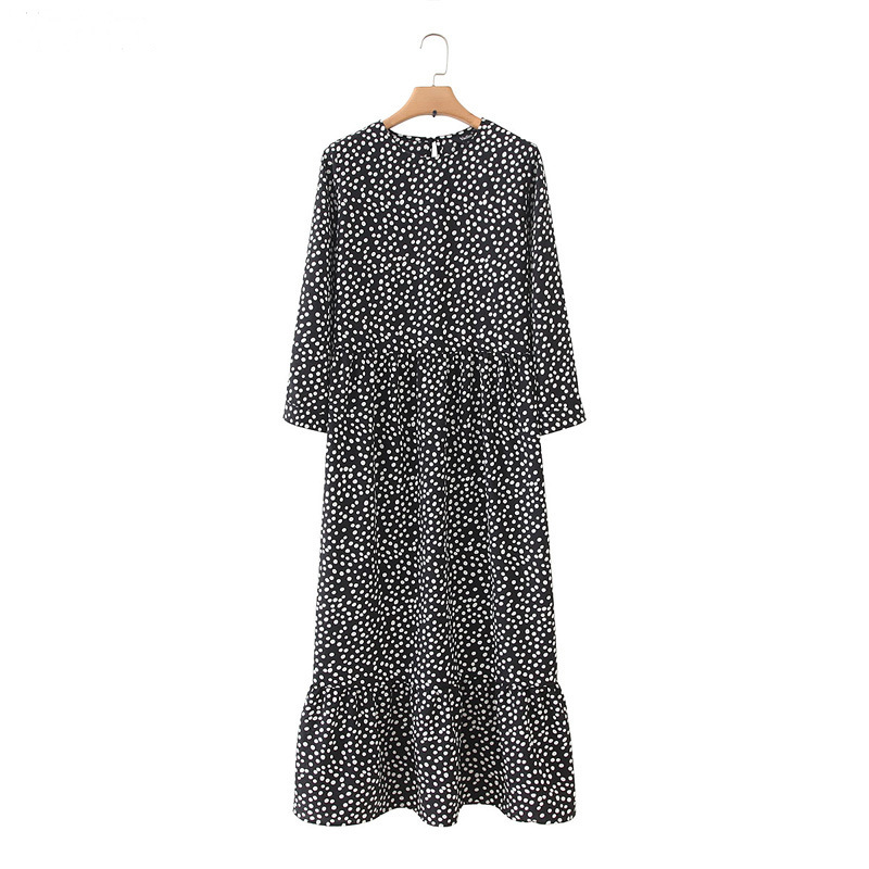 Vadim Women Black Dots Print Maxi Dress Pleated Three Quarter Sleeve Female Casual Straight Dresses Chic Ankle Length Vestidos