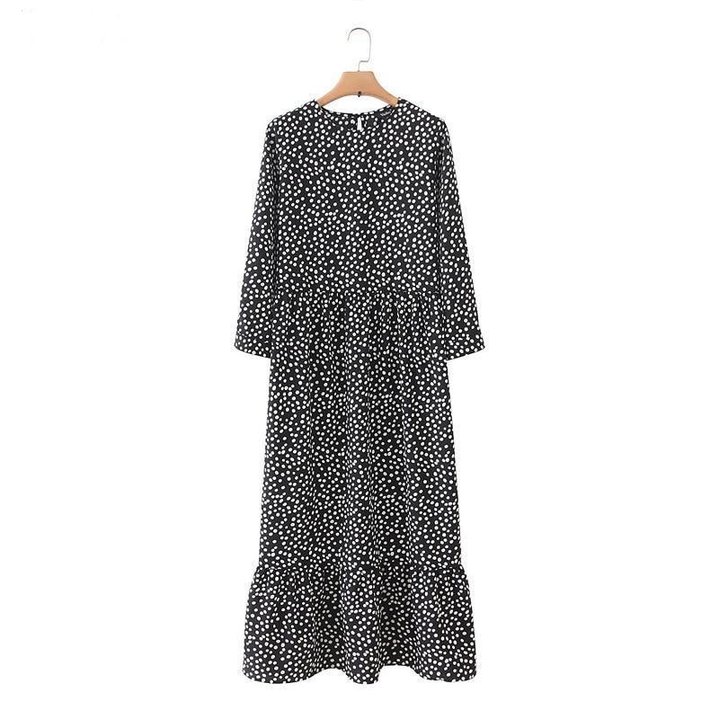 Vadim Women Black Dots Print Maxi Dress Pleated Three Quarter Sleeve Female Casual Straight Dresses Chic Ankle Length Vestidos
