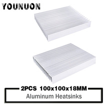 2Pcs YOUNUON 100x100x18mm radiator Aluminum heatsink Extruded heat sink 20-50W LED Electronic dissipation cooler cooling