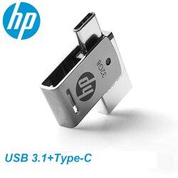 HP OTG Tipe-C USB3.1 Logam USB Flash Drive 256GB 128GB 64GB Kecepatan Tinggi X5000M Flashdisk untuk Smartphone/Tablet/PC 32GB 16GB