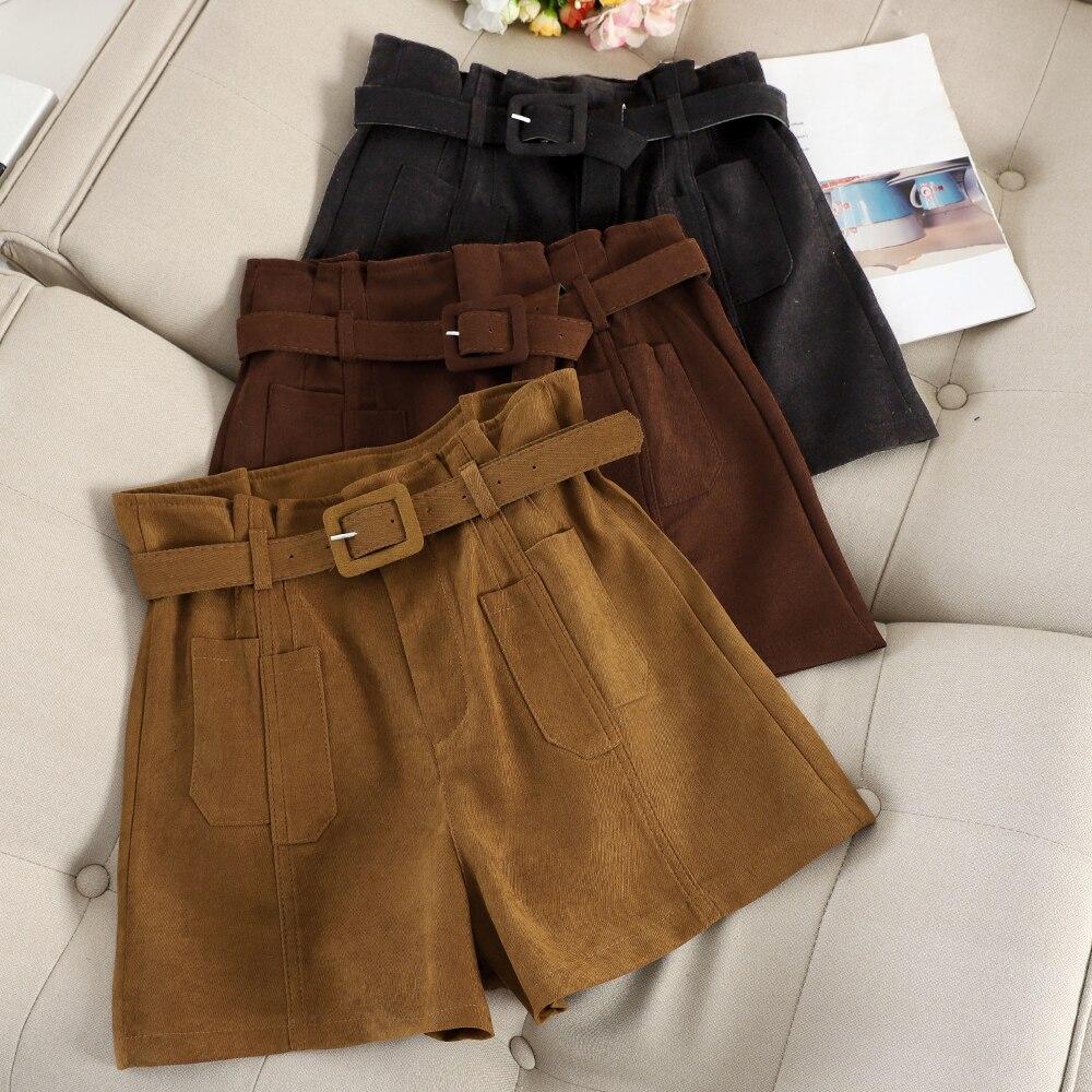 Vintage Autumn Shorts Women Casual Loose Wide Legs Trouser With Sashes Bud Short Female Fashion Khaki Black Bottoms