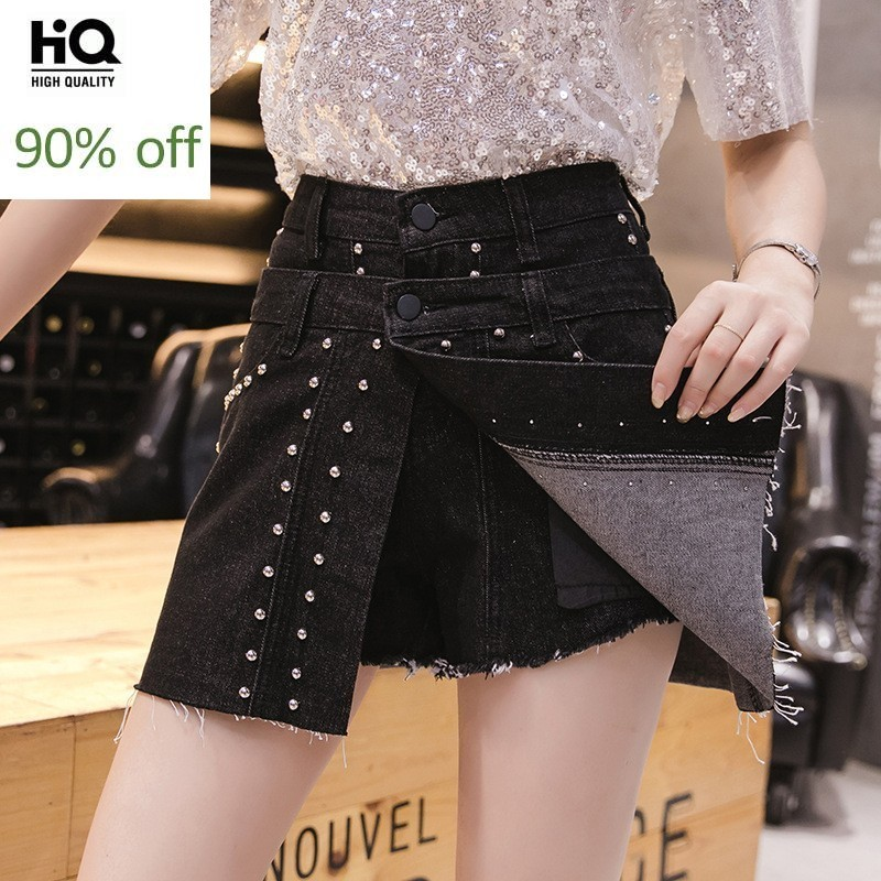 High Waist Fake Piece Embroidered Flares Rivet Cowgirl Shorts Skirts New Brand Fashion Thin Slim Button Fly Womens Flare Shorts