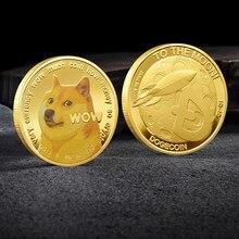 Bonito wow banhado a ouro dogecoin moedas comemorativas cão bonito padrão lembrança do cão moedas coleção presentes decoração da sua casa