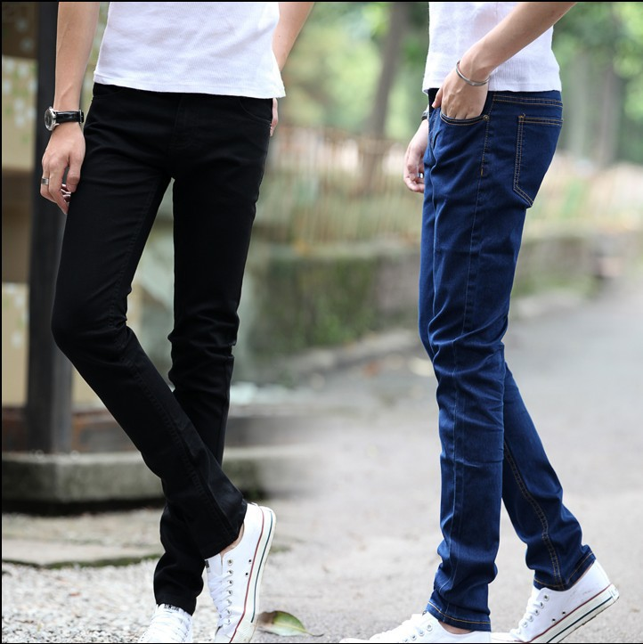 Jeans Men's Slim Fit Pants Black And White With Pattern Casual Straight-Cut Pants Korean-style Trend Durable Wear Cheap
