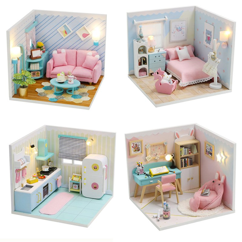 Can be Combined Freely Cute Doll House Furniture Free Dust Cover Nine Designs Diy Miniature Wooden Dollhouse Toys For Children