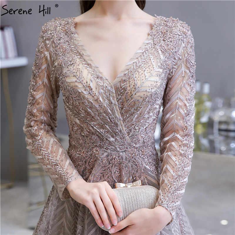 Khaki dekolt w serek kryształowe cekinowe suknie wieczorowe 2020 linia luksusowa suknia z długim rękawem projekt Serene Hill LA70430