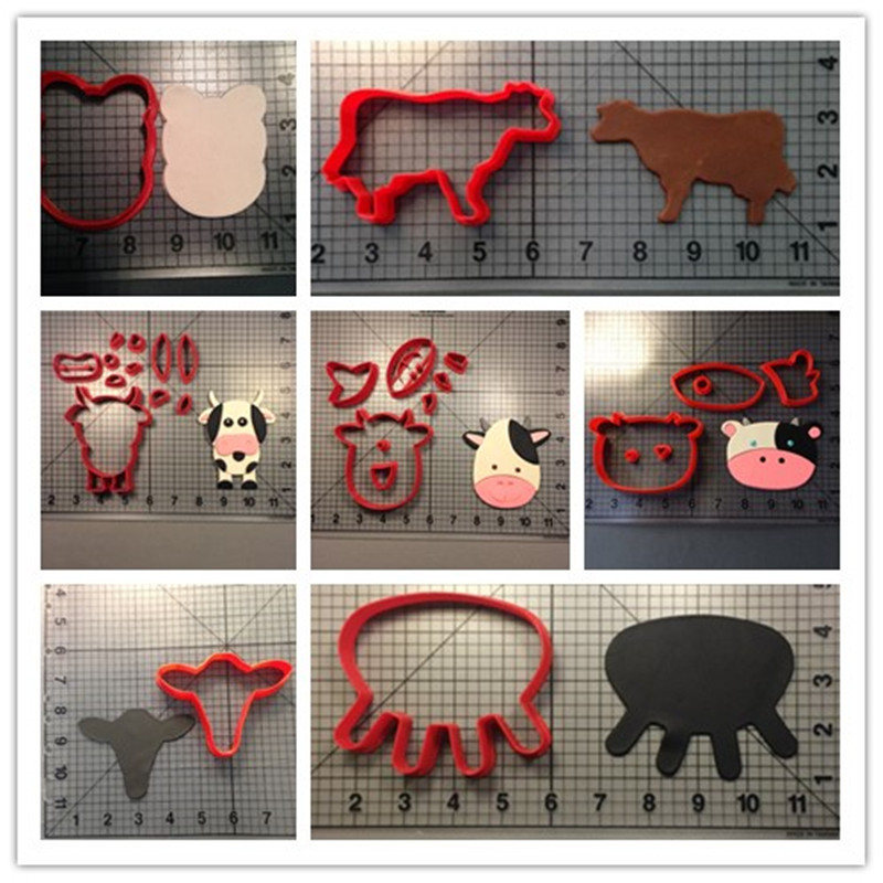 Home cooking kids DIY tools cute baby cow head udder face shape cookie cutters 3D printed plastic fondant decorating tools