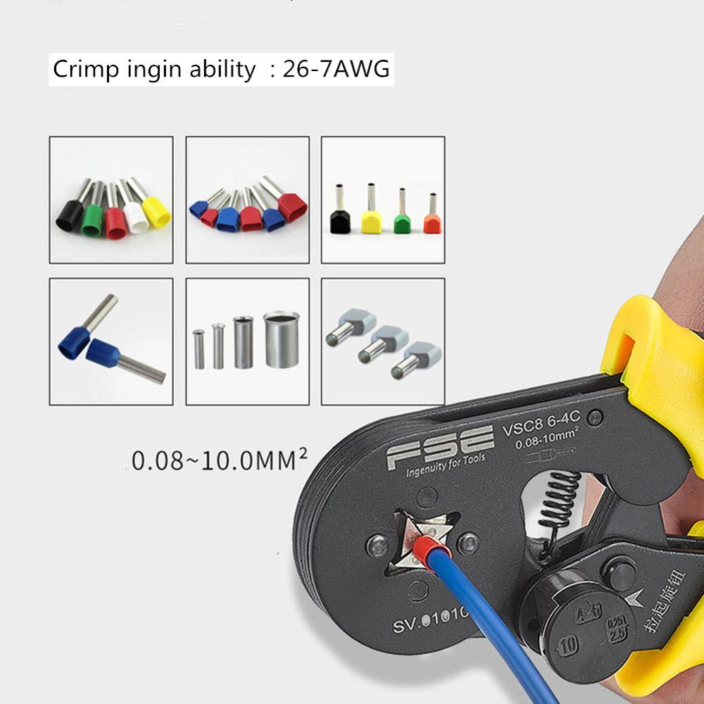 Crimping Pliers VSC8 10-6A 6-4C VSC9 16-4A 0.08-16mm2 26-7AWG For Tube Type Needle Type Terminal Manual Adjustable Tools