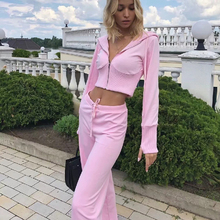 2021 New Spring Hooded Zipper Jacket + Strappy High Waisted Straight Pants Women's Sports Set Women's Sports Pants Fashion