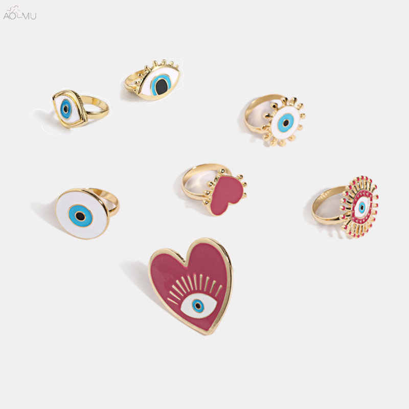 AOMU Fashion New Alloy Enamel Heart Rings For Women Blue Black Color Dripping Oil Evil Eye Ring Geometric Boho Jewelry Set