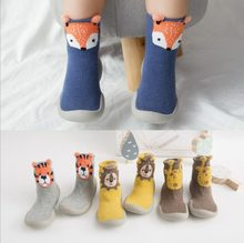 Zapatos antideslizantes para bebé, zapatillas gruesas de zorro y Tigre, calcetines de pie, calcetines de estilo Animal Tz05