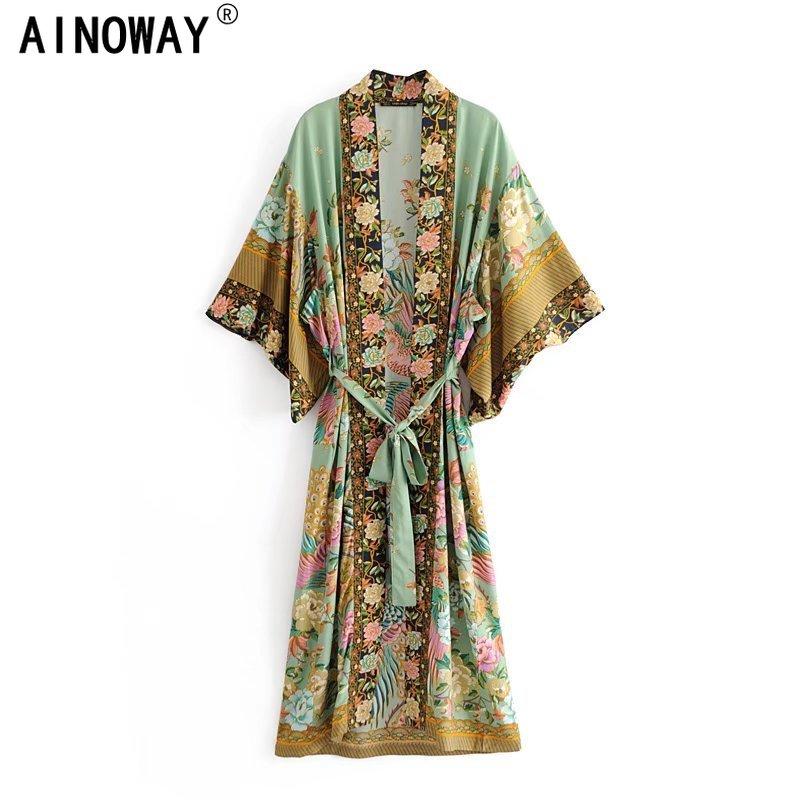 Boho  women peacock floral print bat sleeve beach Bohemian Kimono robe Ladies V neck Tassel Summer happie dress vestidos
