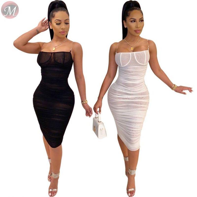 2020 Hot Spaghetti Strap Transparent Mesh Pleated Bodycon Sexy Womens Club Dresses