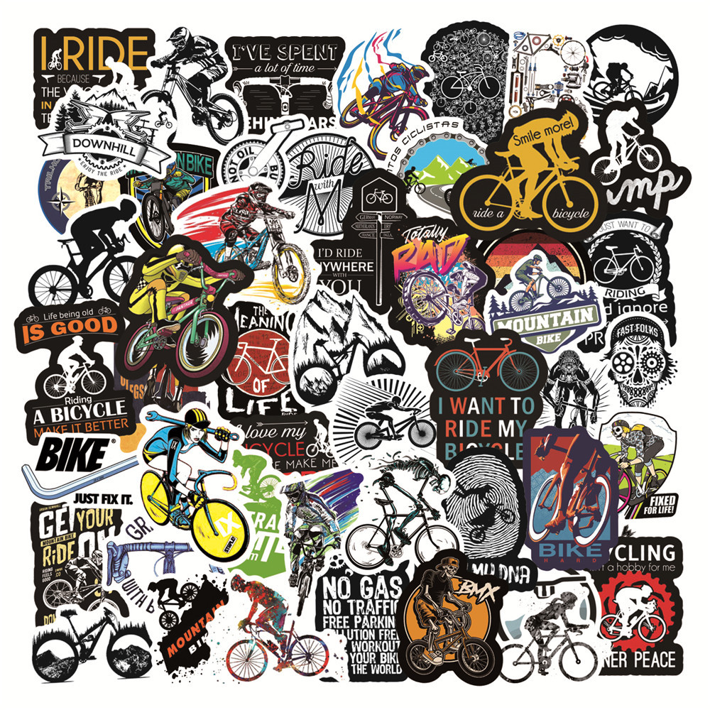 50 шт./упаковка, водонепроницаемые наклейки на горный велосипед, скейтборд, ноутбук, мотоцикл, автомобиль, велосипед