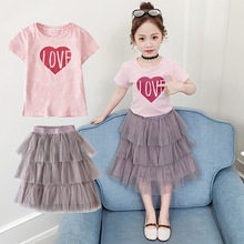 купить Summer Teen Girls Outfits Clothing Set Kids Love Striped T Shirt Mesh Skirt Suit Children Clothes for Girls 6 8 10 12 14 Years дешево