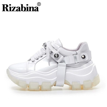 RIZABINA Real Leather Women Sneakers Fashion Rhinestone Thick Bottom Dad Shoes Platform shoes Lace Up Vulcanized Size 34-39