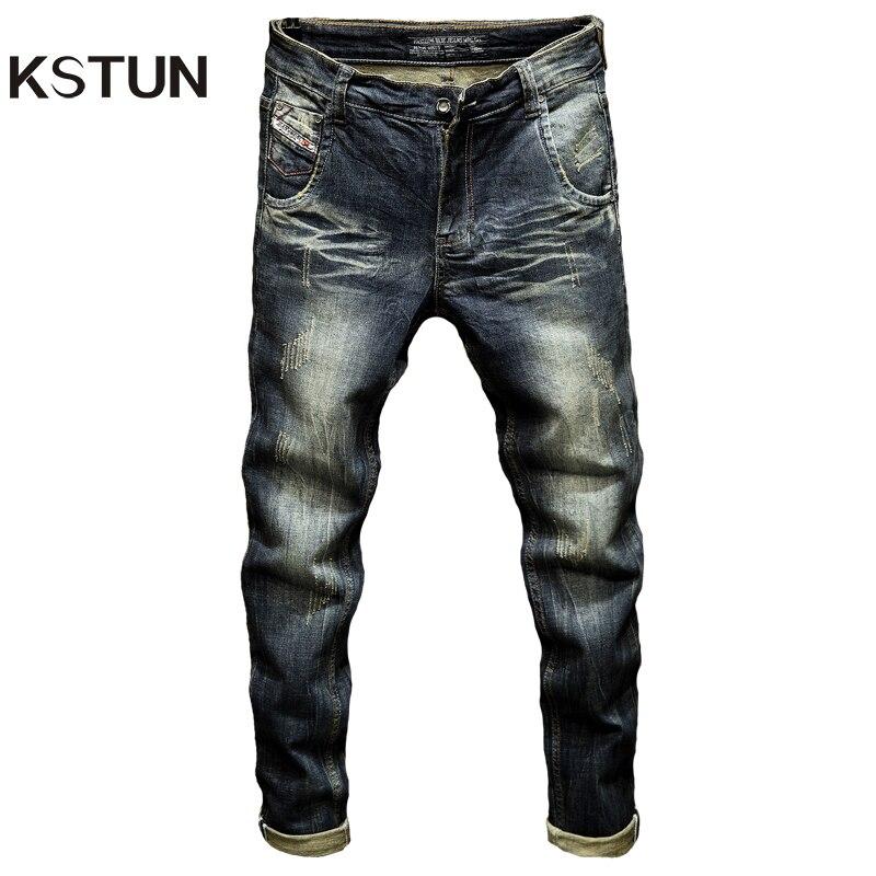 Mens Dark Blue Jeans Pants Denim Slim Fit Elastic Casual Punk Jeans Men High Street Vintage Scratched Fashion Pockets Designer