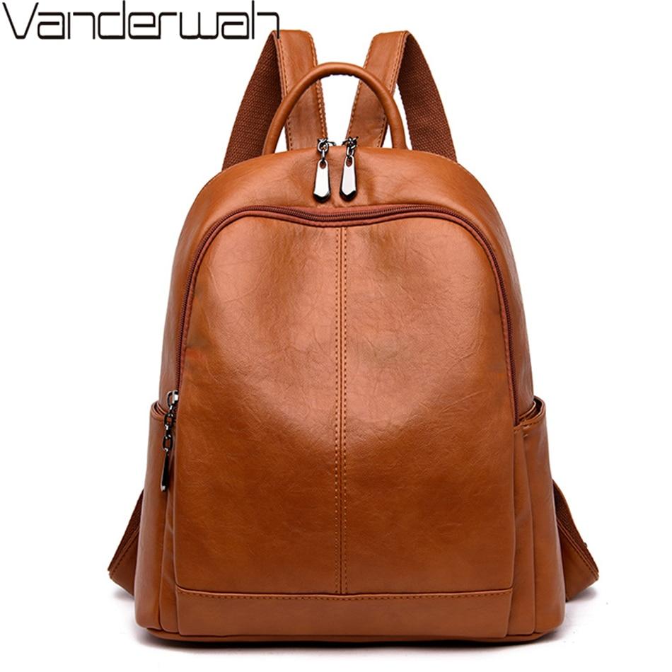 Women Soft Leather Backpacks High Quality Vintage Bagpack Ladies Sac A Dos School Bags For Girls Female Travel Shoulder Bag