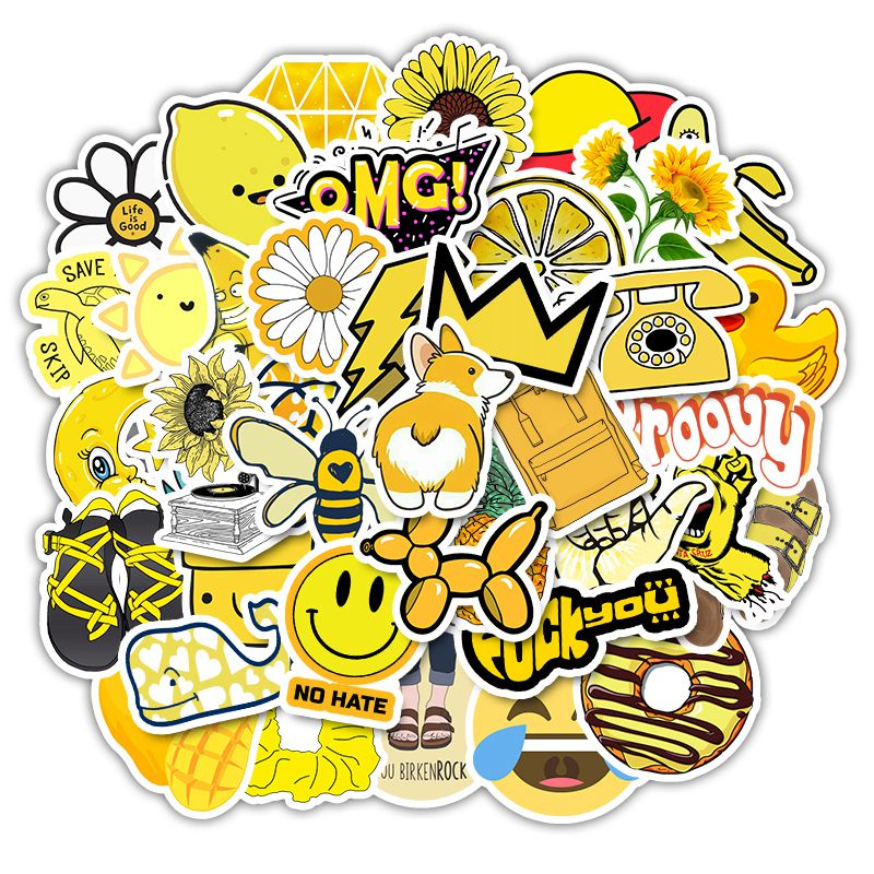 picture about Vsco Stickers Printable identify Aterproof Amusing Adorable Yellow Vinyl Computer system - Gonzagasports
