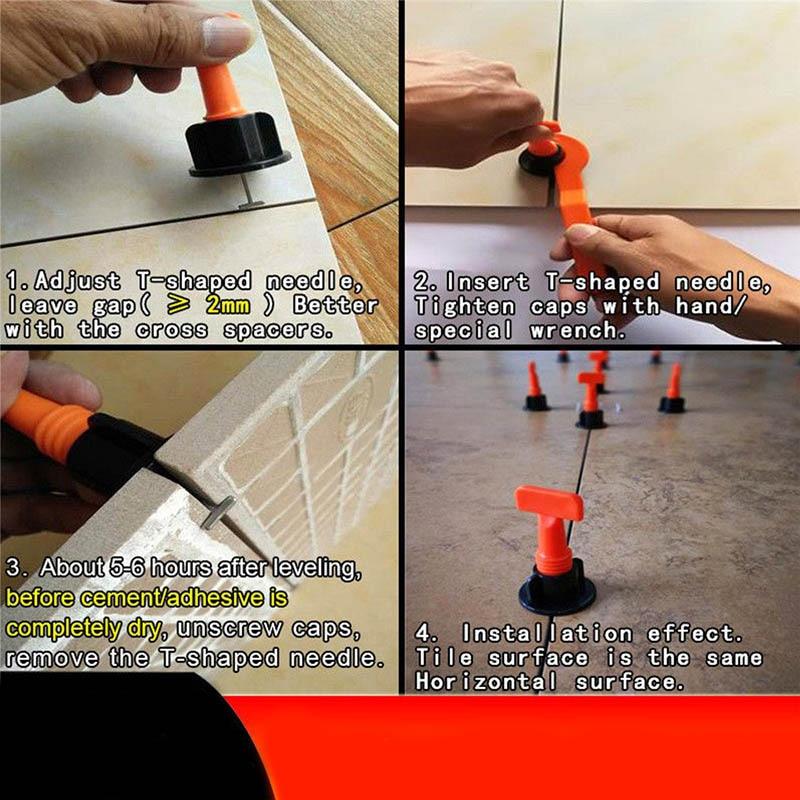 50pcs Plastic Flat Ceramic Leveler Floor Wall Construction Tools Reusable Tile Leveling System Kits DIN889