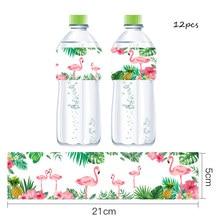 Tropical Flamingo Palm Leaf Bottle Stickers Hawaii Luau Flamingo Party Summer Wedding Party Decorations Supplies цена