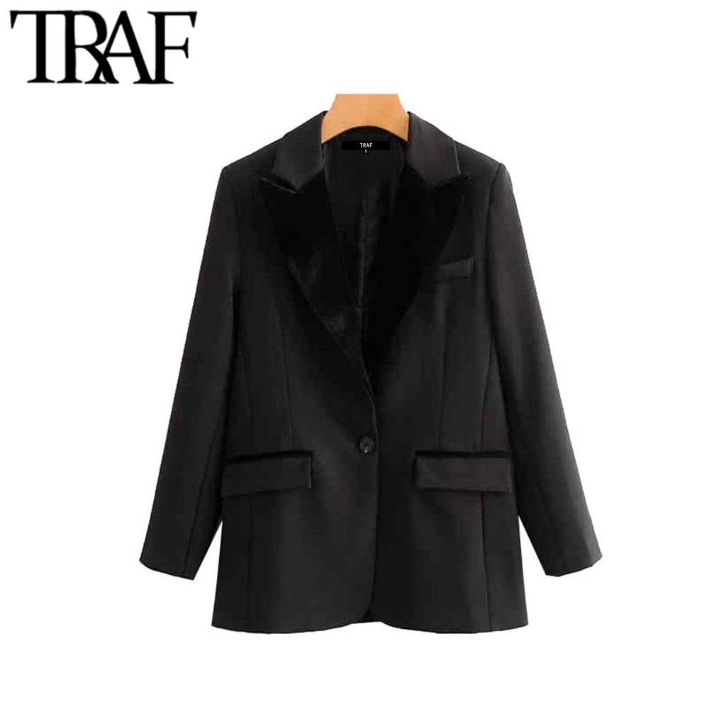 TRAF Women Vintage Stylish Pockets Velvet Patchwork Blazer Coat Fashion Notched Collar Long Sleeve Female Outerwear Chic Tops