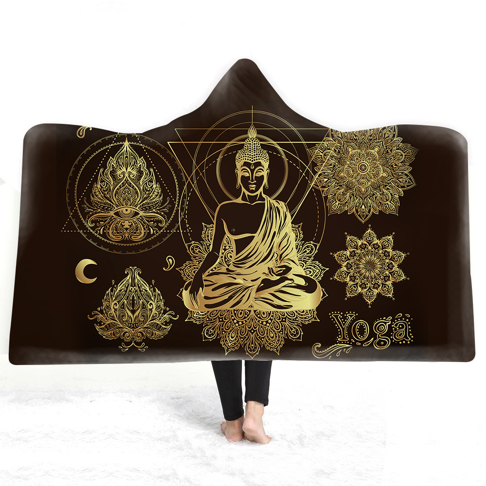 Buddha Hooded Blanket For Adults Kids 3D Printed Plush Fleece Europe Blanket Wearable Warm Throw Blanket For Home Travel Picnic in Blankets from Home Garden