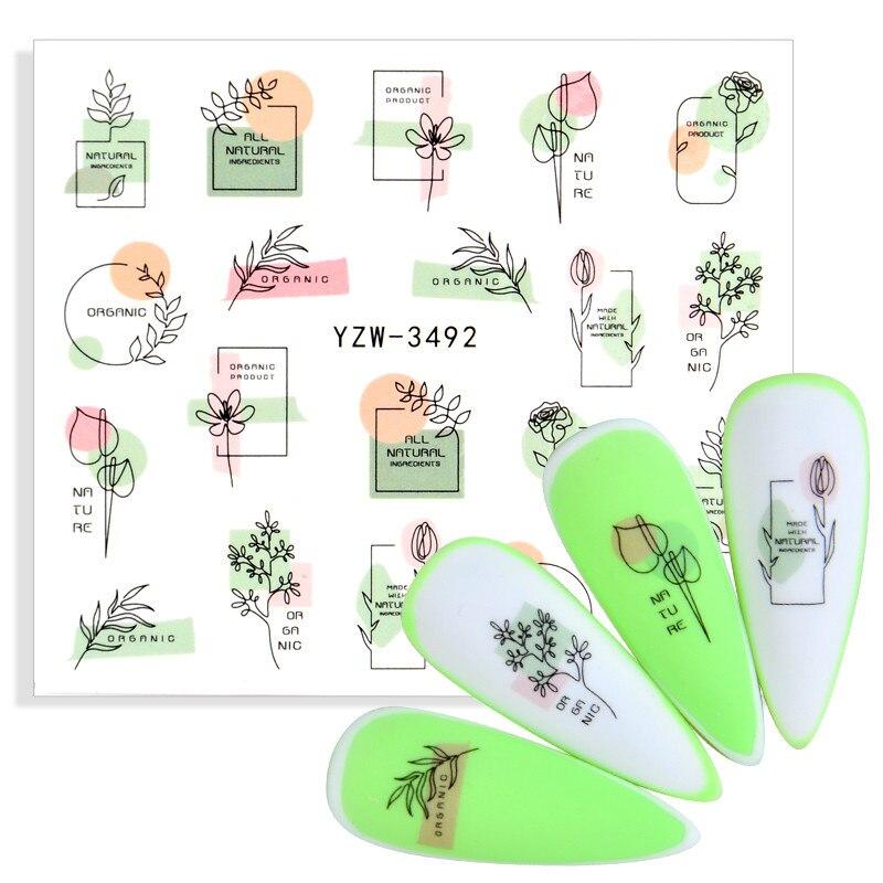 1 шт., простой букет, дизайн ногтей, наклейки с буквами, Розовый дракон, Водная передача, слайдер, наклейки для ногтей, украшения, аксессуары д...