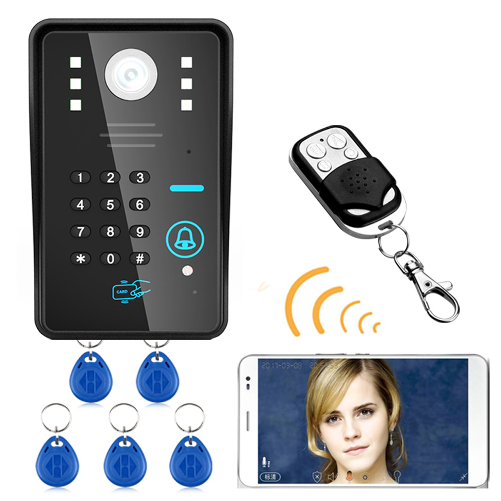 Wireless WIFI RFID Password Video Door Phone Doorbell Intercom System Night Vision Waterproof Access Control System + Wireless R