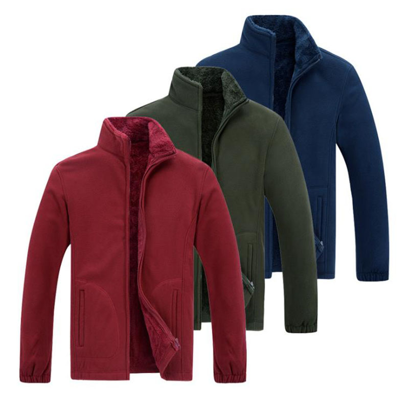 8XL Men Outdoor Winter Fleece Thermal Coat Thicken Warm Loose Large Size Jackets Windproof Trekking Camping Sports Clothing