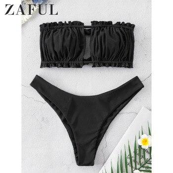 ZAFUL Ribbed Tie Cutout Bandeau Bikini Swimsuit Sexy Strapless Ruched Cut Out Bikini Elastic High Cut High Leg Women Bikini Sets sexy style strapless pink fringe women s bikini set