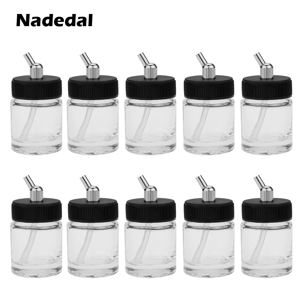 10PCS Airbrush Glass Bottles Using On Dual-Action Airbrushes Airbrush Bottle (Jars) With 30 Angle Adapter Lid Assembly