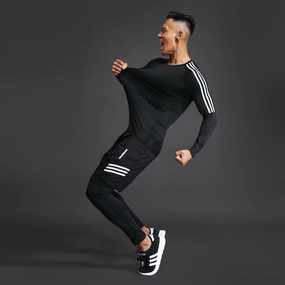Quick-drying compression men s sports training suit men s gym jogging running suit men s tight fitness workout clothes