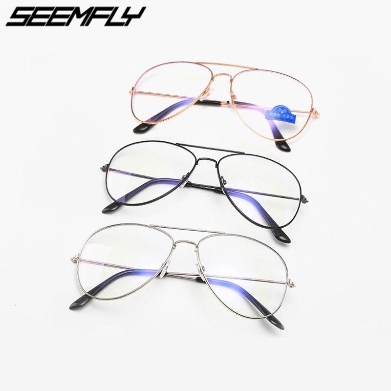 Computer Goggles Glasses Lens Eyeglasses Metal Fashion Black Blue Women Female Clear Right Blocking