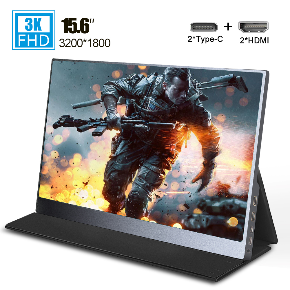Popular 15.6 Inch 3K Type-C MiniHDMI Portable Monitor 3200x1800 IPS LCD Screen Display For Laptop Ps4 Switch Xbox Game Console