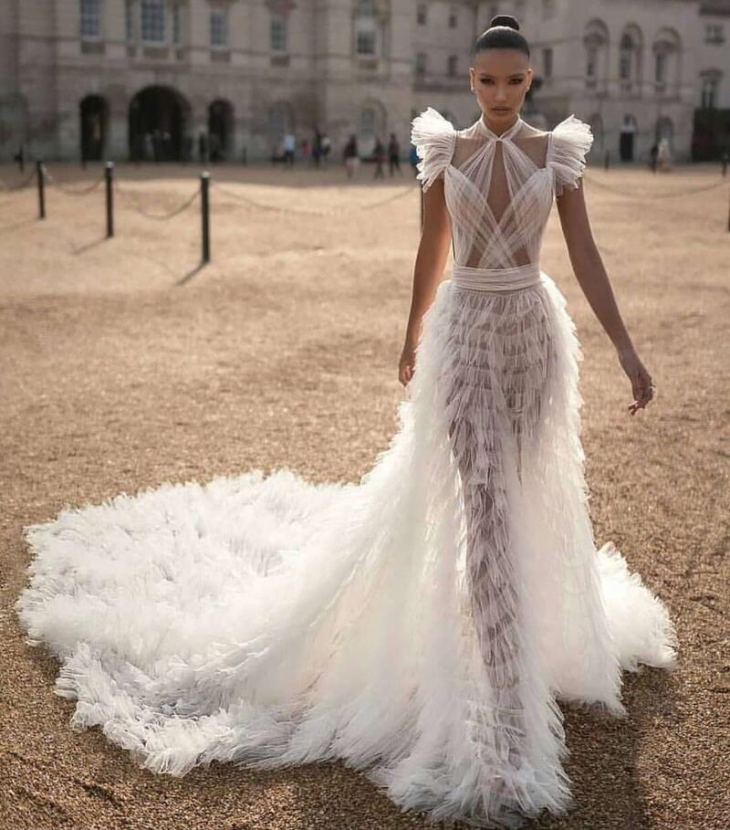 High Quality Women Sexy White Mesh Ruffles  Maxi Long Dress 2020 Elegant Evening Party Dress Vestido