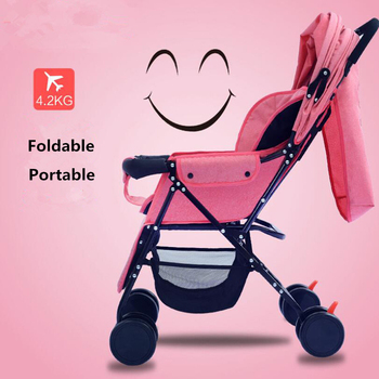Baby Stroller 3 in 1 Portable Foldable Strollers Pram for Newborns High Landscape Four-wheel Kids Carriage Travel Buggy Stroller image