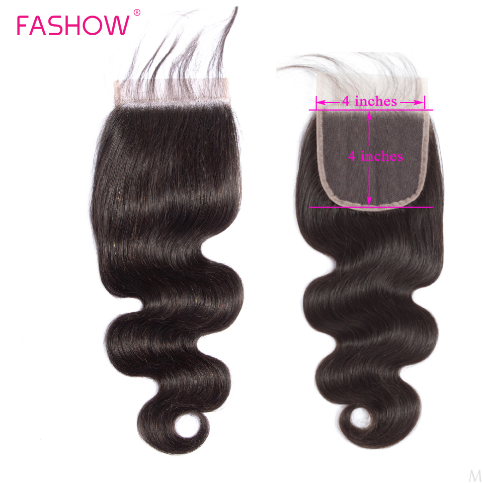 Image 3 - Fashow Hair Peruvian Body Wave Human Hair Bundles With 4*4 Lace Closure 3 Bundles with Hand Tied Closure Better Remy Hair Weavespre   -